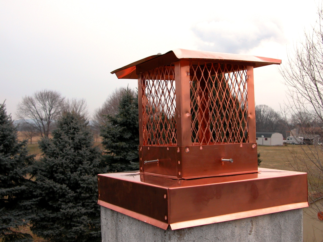 Copper Chimney Crown Cover With Cap